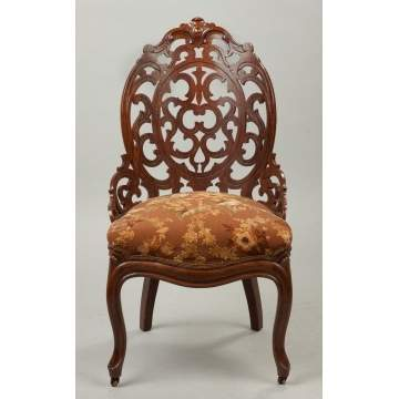 Victorian Laminated Rosewood and Pierced Carved Side Chair