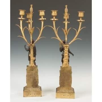 French Gilt Bronze and Bronze Classical Figure Candelabras