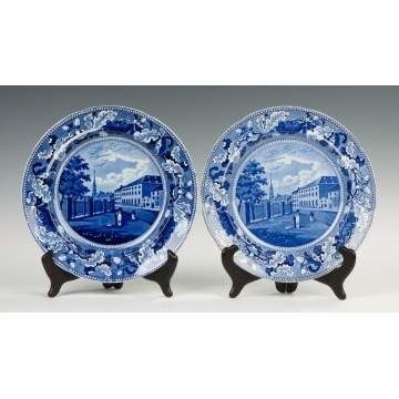 Two Stevenson's Park Theatre, NY, Historical Blue Staffordshire Plates