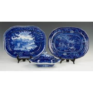 Three Historical Blue Staffordshire Pieces