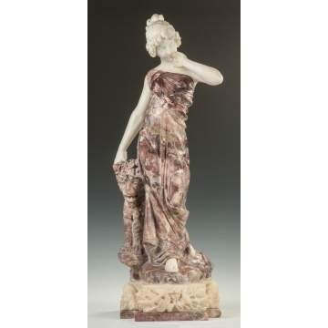 Carved Roux Marble Sculpture of a Robed Lady