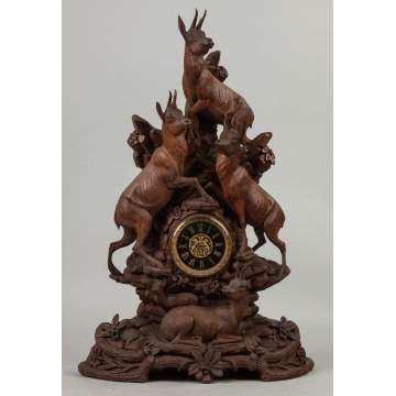 Carved Black Forest Clock with Mountain Goats and Foliage