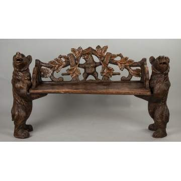 Black Forest Bench with Bears, Resin