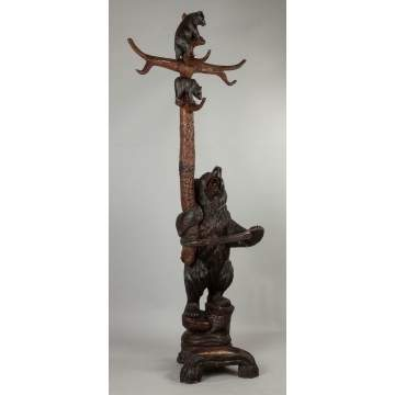 Carved Black Forest Coat Rack and Umbrella Stand with Bear and Cubs