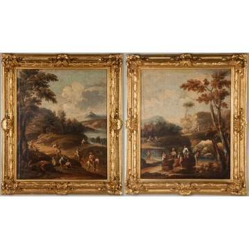 Pair of Old Master's School Paintings of Landscapes with Figures