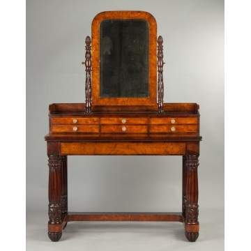 American Classical Carved and Figured Mahogany and Burl Dressing Table