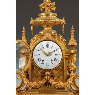 Fine Charpentier & Co. Gilt Bronze Mantle Clock