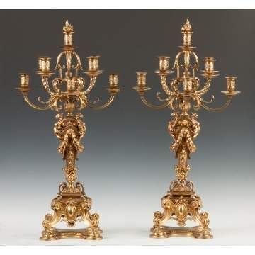 Pair of French Seven Arm Bronze Candelabras