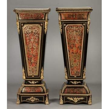 Pair of Boulle and Ebonized Pedestals