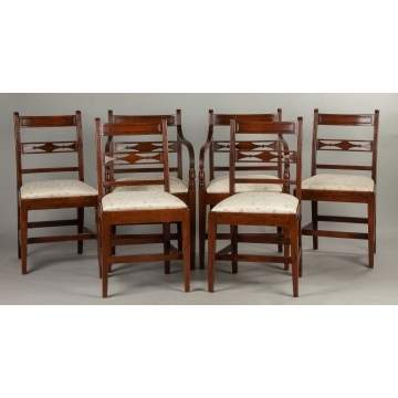 Set of Six New England Hepplewhite Cherry Dining Chairs