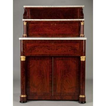Fine Classical Empire, Figured Mahogany, Diminutive Butler's Desk