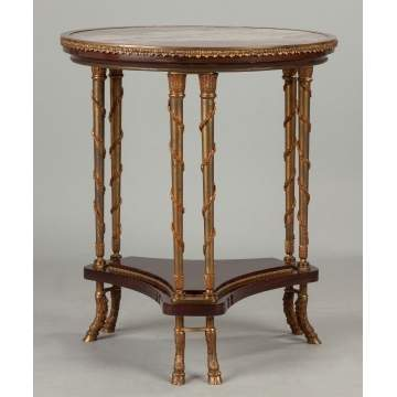 Fine French Gilt Bronze and Mahogany Marble Top Center Table