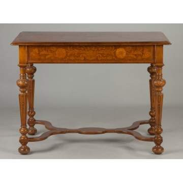 Continental Carved and Marquetry Inlaid Walnut Side Table