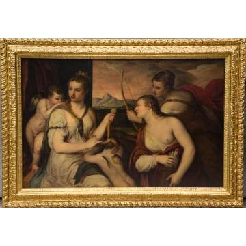 "Old Masters Style Painting, ""Venus Blindfolding Cupid"""