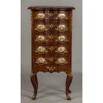 French Burl Wood Serpentine Front Diminutive Cabinet