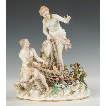 Meissen Porcelain Figural Group, Aquatic Motif