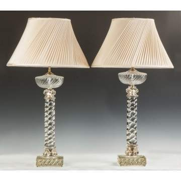 Pair of Baccarat Rope Twist Glass Lamps