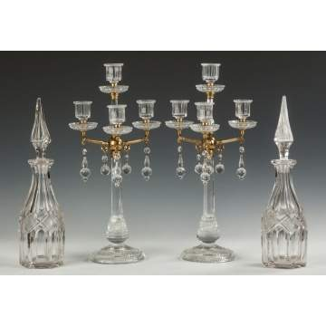 Cut Glass Decanters and Candelabras