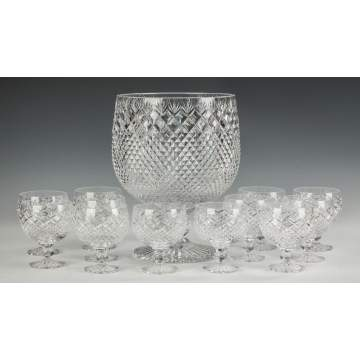 English Cut Glass Punch Bowl with 12 Goblets