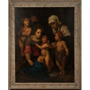 "Old Masters Style Painting, ""The Holy Family with Angels"""
