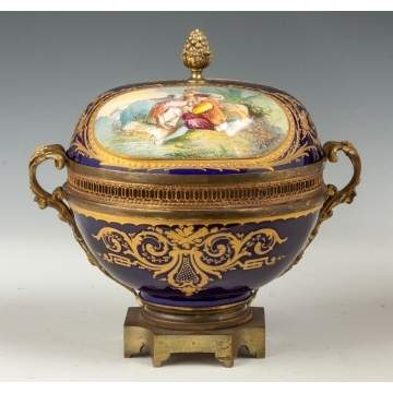 Sevres Style Hand Painted Porcelain Covered Compote