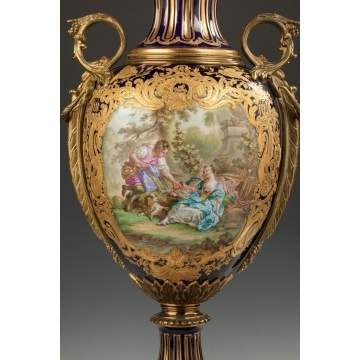 Sevres Hand Painted Porcelain Covered Urn with Courting Couple
