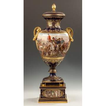 Fine and Rare Historical Vienna Covered Urn with Napoleonic Scenes