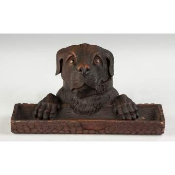 Black Forest Carved Wood Dog Inkwell and Pen Tray