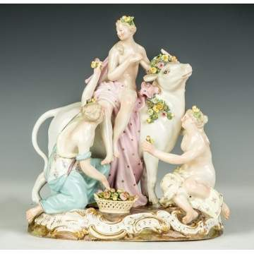 Meissen Figural Group, Young Women with Bull