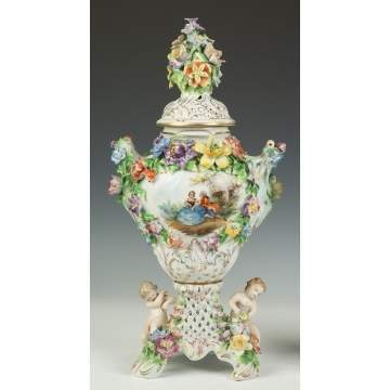 Pair of Dresden Urns with Courting Scenes