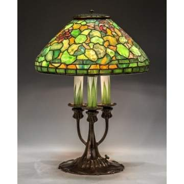 Rare Tiffany Studios New York Leaded Glass Geranium Lamp