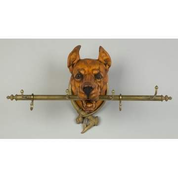 Carved Maple Great Dane Hat Rack