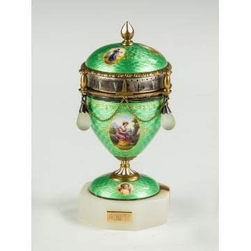 Fine French Enameled and Hand Painted Annular Clock
