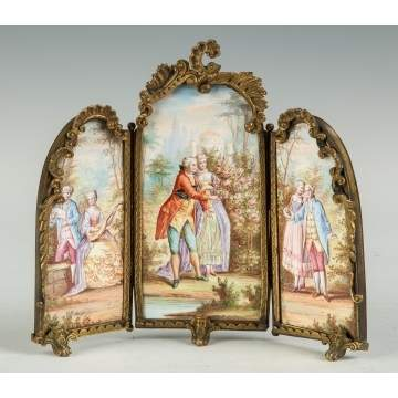 French Enameled Miniature Screen with Courting Couples and Figures