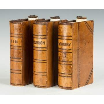 Leather Bound and Ceramic Book Flasks