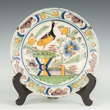 Early Delft Hand Painted Charger with Bird and Landscape
