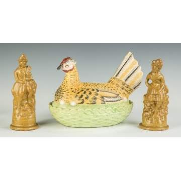 Stoneware Figures and Staffordshire Hen