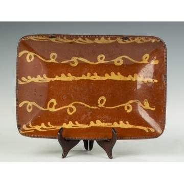 Redware Decorated Loaf Tray