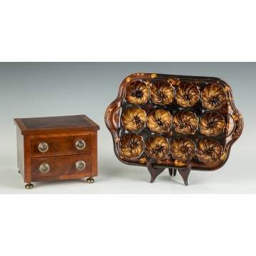 Mahogany Two-Drawer Sewing Stand & Rockingham Muffin Tray
