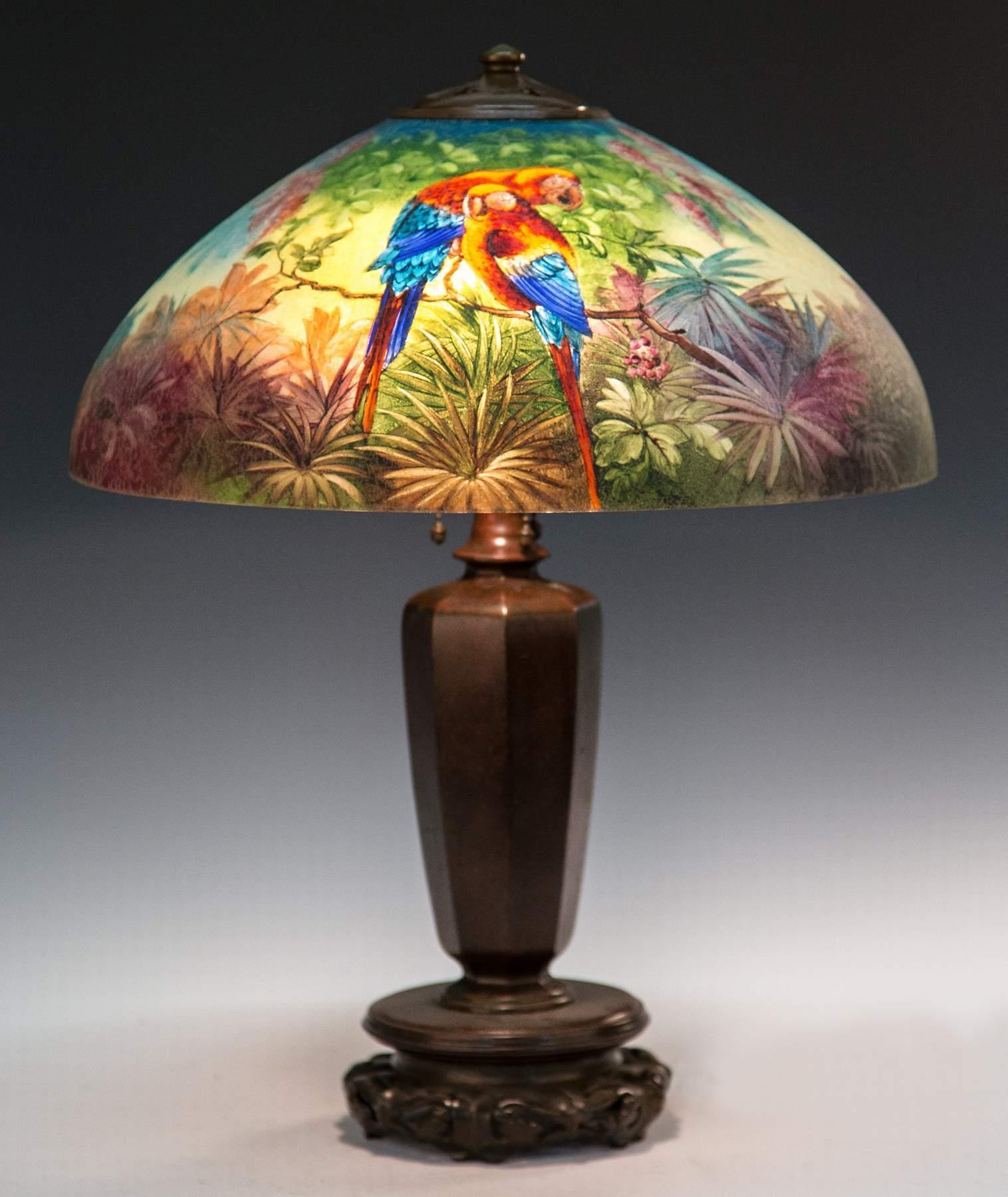 Handel Reverse Painted Parrot Lamp