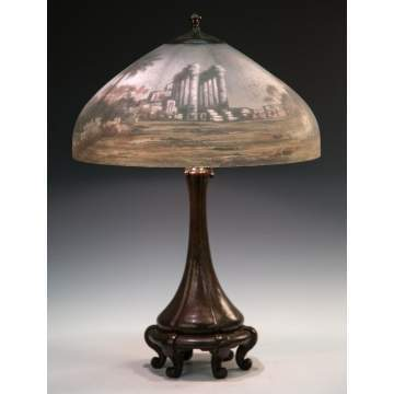 Handel Reverse Painted Egyptian Ruins Lamp