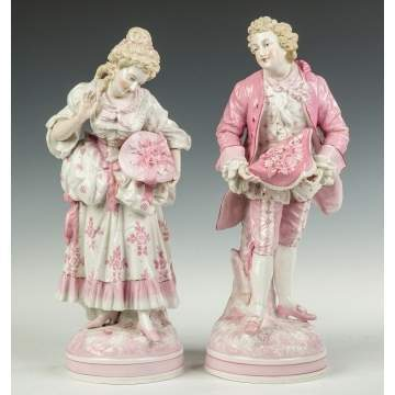 Pair of Hand Painted Porcelain Courting Figures