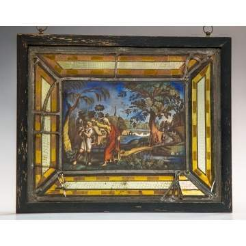 Old Master's School Painted and Stained Glass Window
