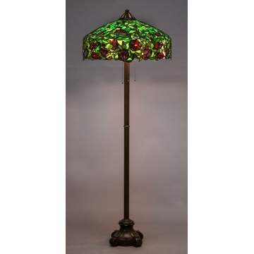 Rare Handel Oriental Poppy Leaded Glass Floor Lamp
