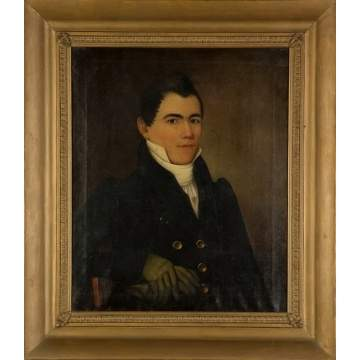 New York State Portrait of a Seated Man with Gloves