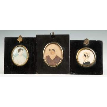 Three Miniature Watercolor Portraits of Women with Bonnets