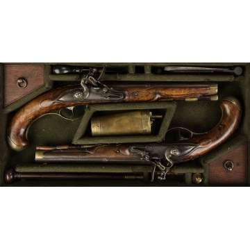 Pair of Cased Flintlock Pistols