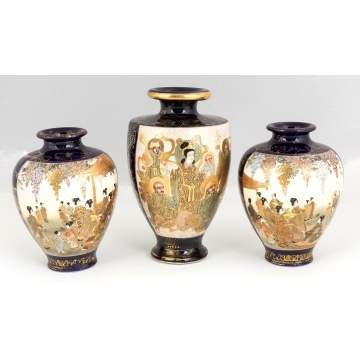 Three Hand Painted Japanese Satsuma Vases Cottone Auctions