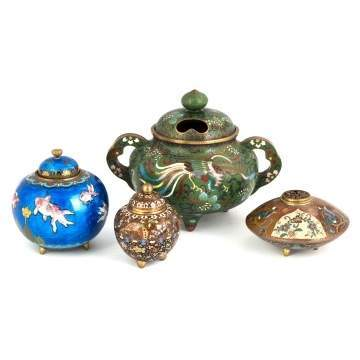 Group of Various Cloisonne Censors