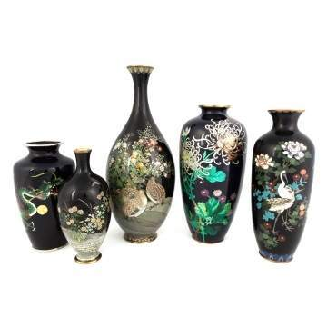 Group of Cloisonne Vases